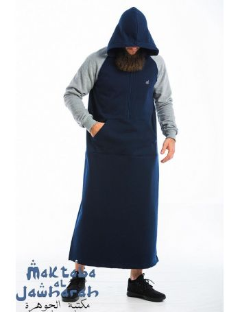 Qamis Raglan Bleu Marine Gris