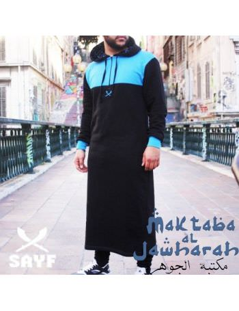 Qamis Jogging Sayf Noir Bleu Ciel Sayf Collection